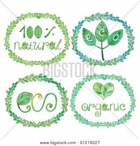 Watercolor logotypes eco set