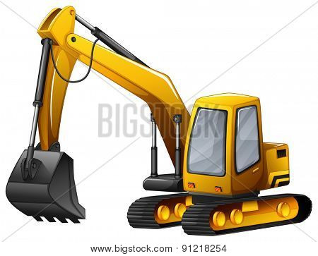 Closeup yellow excavator with giant shovel