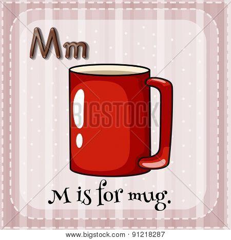 Flashcard alphabet M is for mug