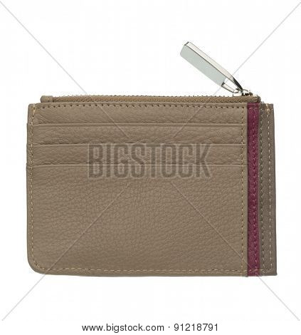 light brown leather wallet isolated