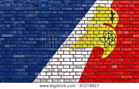 Flag Of Franco-newfoundlander Painted On Brick Wall