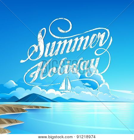 Seaside view Summer Holiday. Vector background