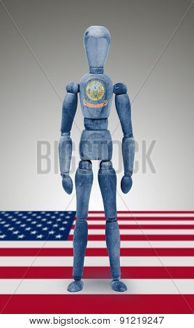 Wood Figure Mannequin With Us State Flag Bodypaint - Idaho