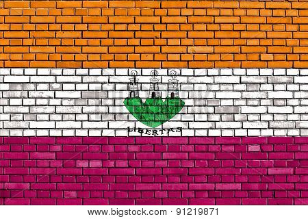Old Flag Of San Marino Painted On Brick Wall