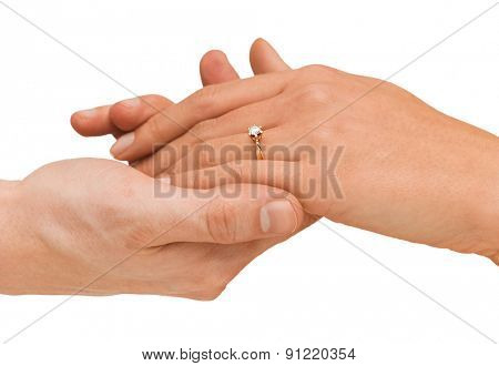 bridal, couple, jewellery, wedding, luxury concept - man puts wedding ring on woman hand