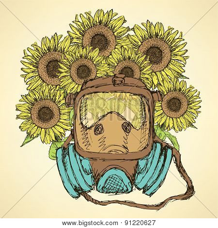 Sketch Respiratory Mask With Sunflower