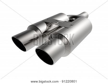 Metal Car Muffler Exhaust Isolated On A White Background