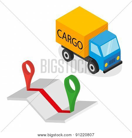 Delivery cargo and map with pins