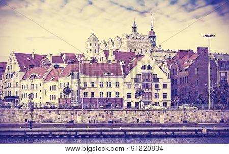 Vintage Toned Picture Of Szczecin Waterfront.