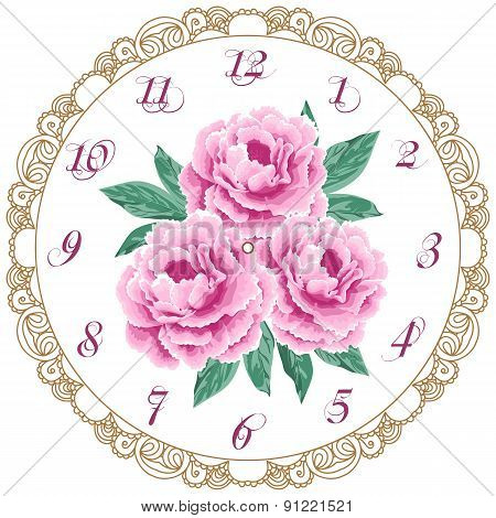 Vintage Clock Face With Peonies
