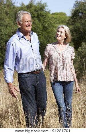 Senior Couple Walking Through Summer Countryside