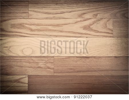 Brown parqueted floor, wooden texture with diagonal planks. Vector illustration
