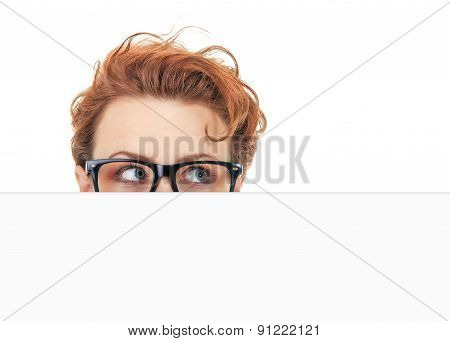 Woman Peep Out Behind Blank White Board, Hide Situation