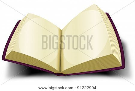 Opened Big Book Icon With Blank Pages