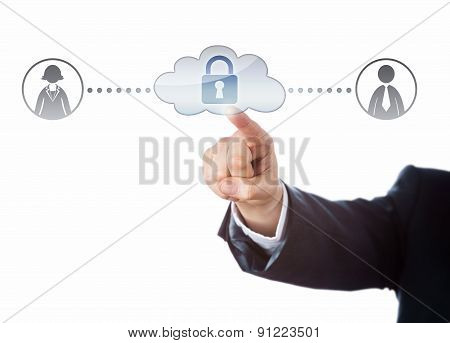Arm Touching Locked Cloud Linked To Two Workers