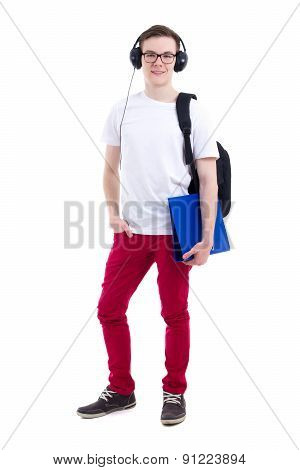 Full Length Portrait Of Handsome Teenage Boy With Backpack And Headphones Isolated On White
