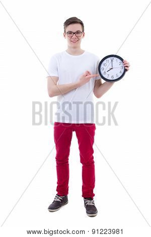 Handsome Teenage Boy Showing Office Clock Isolated On White