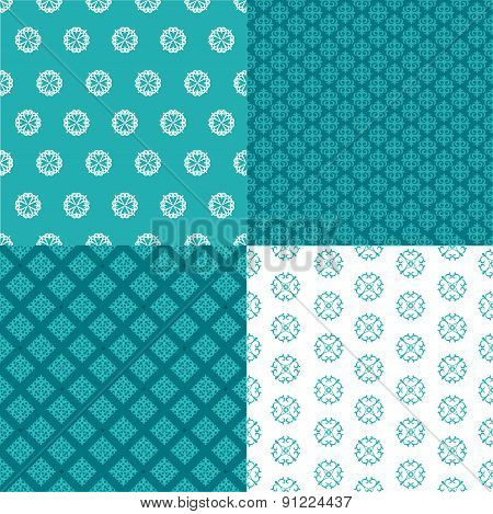 Set Of Four Seamless Patterns. Kazakh, Asian, Floral, Floral Pattern. Decorative Background For Gree