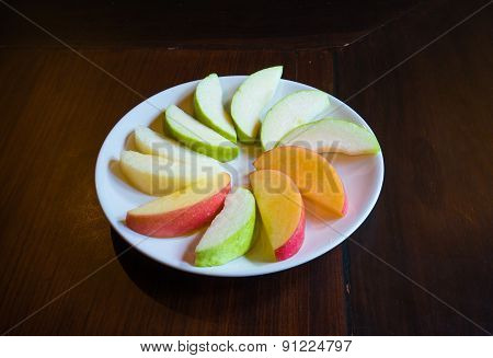 Apple, Guava, Chinese Pear On Dish