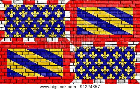 Flag Of Burgundy Painted On Brick Wall