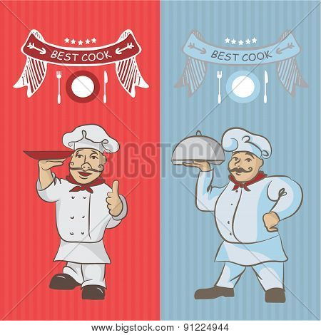 Two Chefs With A Dish On Your Hands. To Design A Menu And Invitation To The Restaurant. Asian, Chine