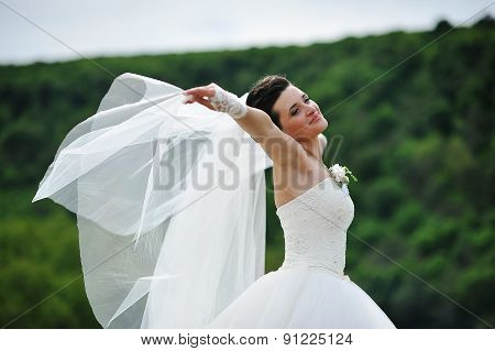 Beautiful Brunette Bride Play With Veil On The Wind
