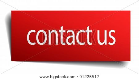Contact Us Red Paper Sign Isolated On White