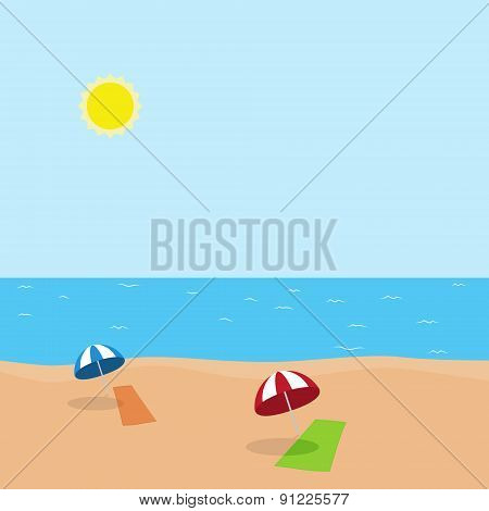 Vector illustration of vacation at sea on beach with towel and umbrella
