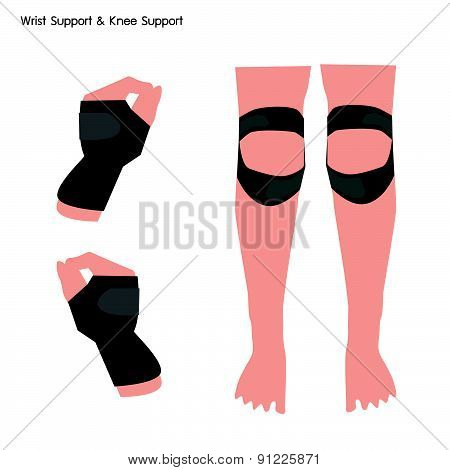 Wrist Support And Knee Support On White Background