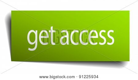 Get Access Green Paper Sign Isolated On White