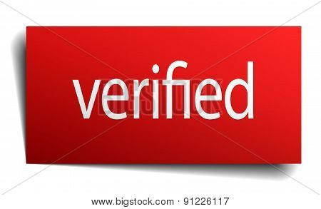 Verified Red Paper Sign On White Background