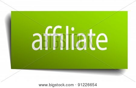 Affiliate Green Paper Sign On White Background