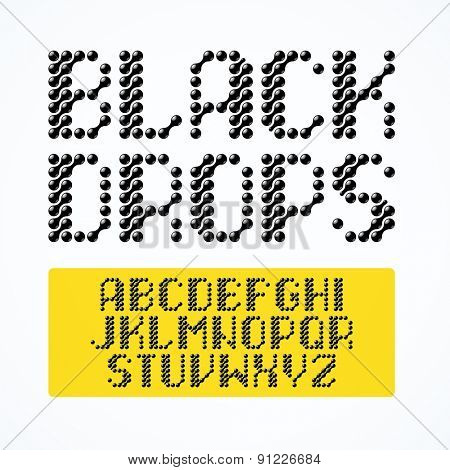 Black drops alphabet. Vector.