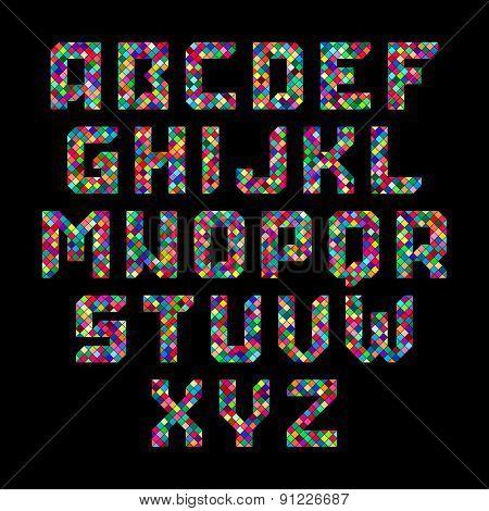 Mosaic alphabet. Vector.