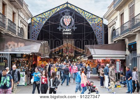 BARCELONA, SPAIN - APRIL, 2015: Market hall La Boqueria on La Rambla in Barcelona