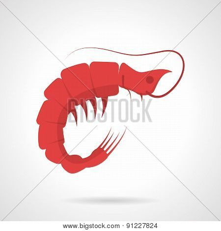 Red prawn flat vector icon