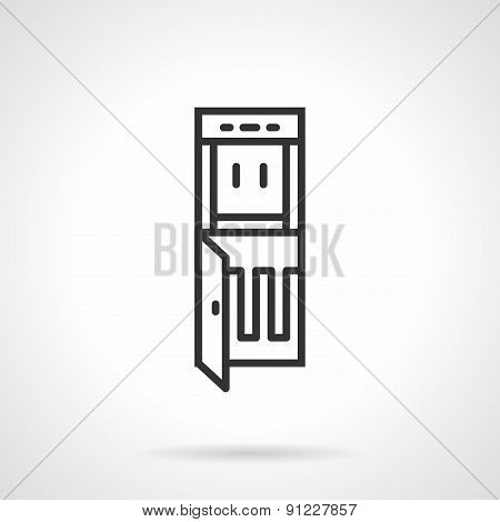 Cooler dispenser black line vector icon