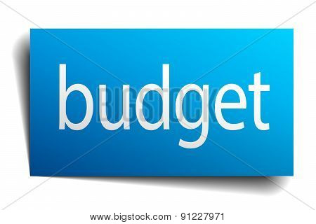 Budget Blue Square Isolated Paper Sign On White