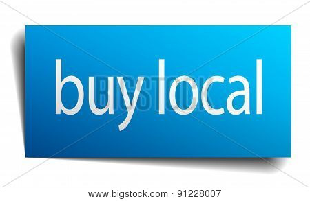 Buy Local Blue Square Isolated Paper Sign On White