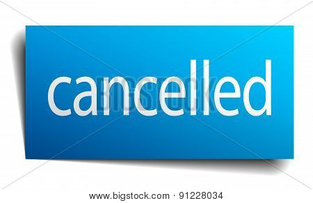 Cancelled Blue Square Isolated Paper Sign On White