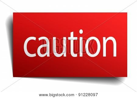 Caution Red Paper Sign Isolated On White
