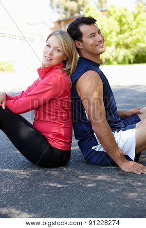 Fit, active couple outdoors