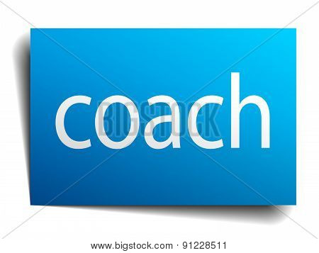 Coach Blue Square Isolated Paper Sign On White