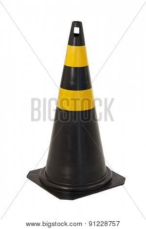 Black and yellow traffic cone isolated on white background