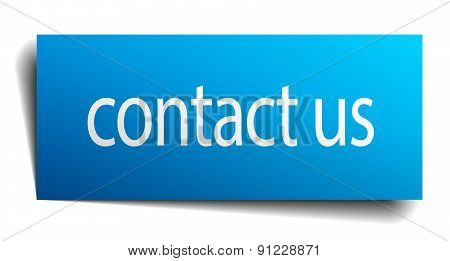 Contact Us Blue Square Isolated Paper Sign On White