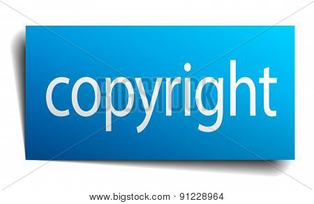 Copyright Blue Square Isolated Paper Sign On White