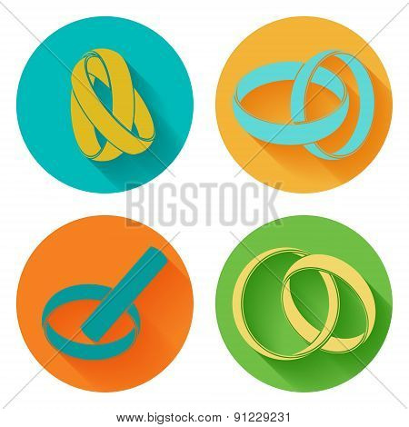Wedding rings sign icon. 4 icons set. Vector