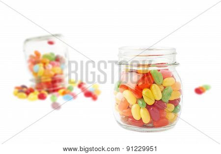 Composition of a jar and jelly beans