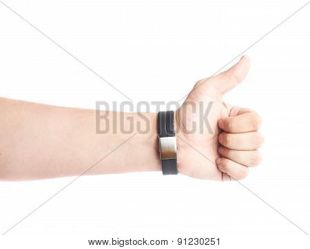 Caucasian male hand in a sport band isolated