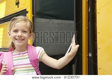 Elementary School Pupil Board Bus